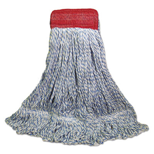Boardwalk Mop Head, Floor Finish, Wide, Rayon/Polyester, Large, White/Blue, 12/Carton (UNS 553)