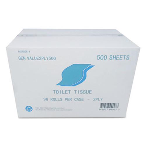 GEN Small Roll Bath Tissue, 2-Ply, White, 500 Sheets/Roll, 96/Carton (GEN VALUE2PLY500)