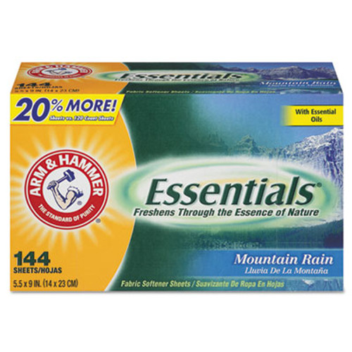 Arm & Hammer Essentials Dryer Sheets, Mountain Rain, 144 Sheets/Box, 6 Boxes/Carton (CDC 33200-14995)