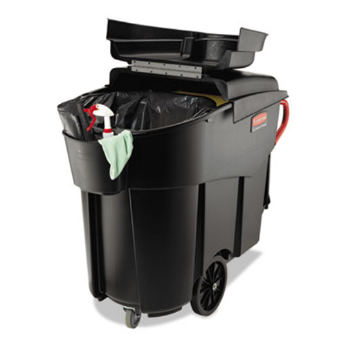 Rubbermaid Mega Brute Mobile Container, Rectangular, Plastic, 120 gal, Black (RCP 9W73 BLA)