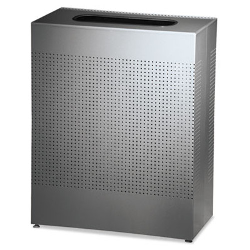 Rubbermaid Designer Line Silhouettes Receptacle, Square, Steel, 22.5, Silver (RCP SR18EPLSM)