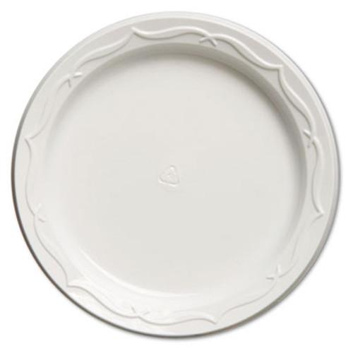 Genpak Aristocrat Plastic Plates, 6 Inches, White, Round, 125/Pack (GNP 70600)