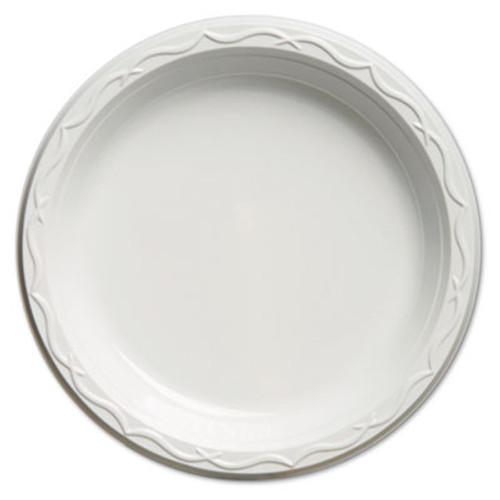 Genpak Aristocrat Plastic Plates, 9 Inches, White, Round, 125/Pack (GNP 70900)