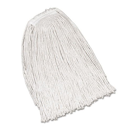 Rubbermaid Economy Cotton Mop Heads, Cut-End, Ctn, WH, 32 oz, 1-in. White Headband, 12/CT (RCP V119)