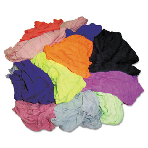 HOSPECO New Colored Knit Polo T-Shirt Rags, Assorted Colors, 10 Pounds/Bag (HOS 245-10)