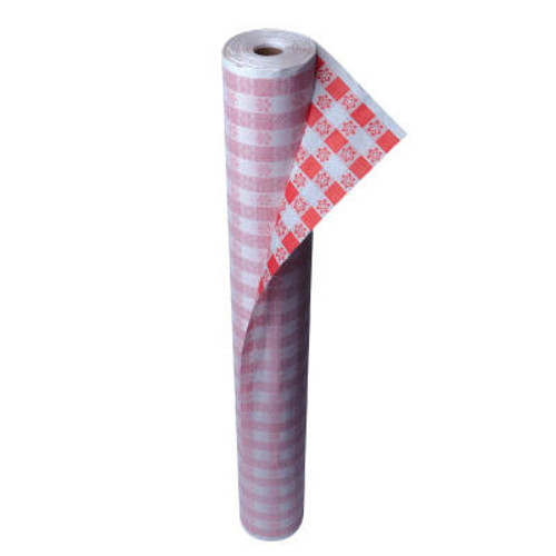 """Kurly Kate Paper Table Cover, 40"""" x 300ft, Red Gingham (LRP 91-0105)"""