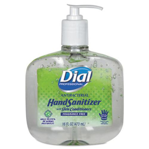 Dial Antibacterial Gel Hand Sanitizer w/Moisturizers, 16oz Pump, Fragrance-Free, 8/Ct (DIA 00213)