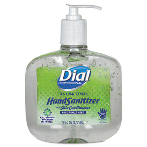 Dial Antibacterial Gel Hand Sanitizer w/Moisturizers, 16oz Pump, Fragrance-Free, 8/Ct (DIA 00213)