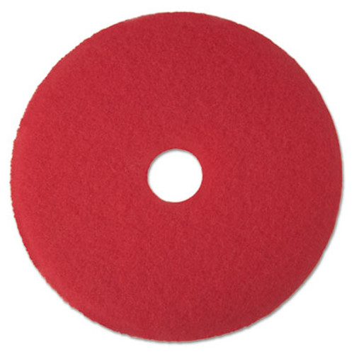 "3M Red Buffer Floor Pads 5100, Low-Speed, 15"", 5/Carton (MCO 08390)"