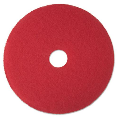 "3M Red Buffer Floor Pads 5100, Low-Speed, 15"", 5/Carton (MCO 08390)"