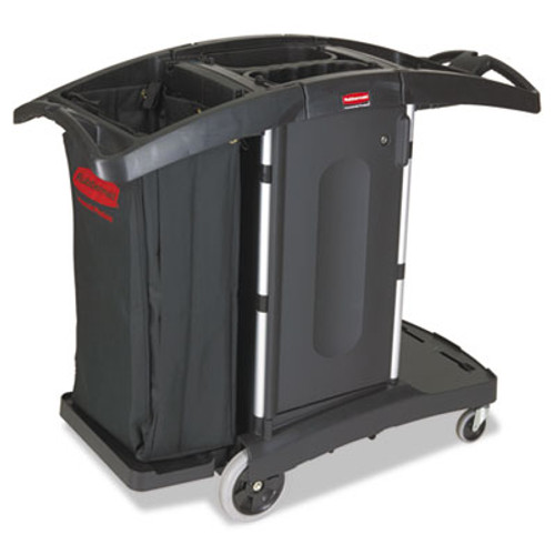 Rubbermaid Compact Folding Housekeeping Cart, 22w x 51 3/4d x 44h, Black (RCP 9T76)