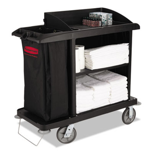 Rubbermaid Multi-Shelf Cleaning Cart, Three-Shelf, 22w x 49d x 50h, Black (RCP 6190 BLA)