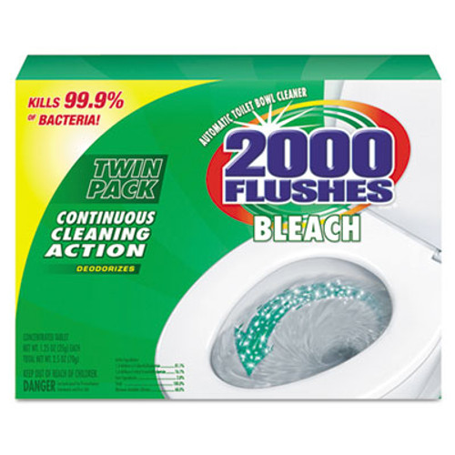 WD-40 2000 Flushes Blue Plus Bleach, 1.25oz, Box, 2/Pack, 6 Packs/Carton (WDC 290088)