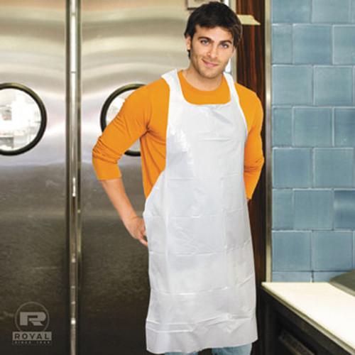 Royal Poly Apron, White, 28 in. x 46 in., 100/Pack, One Size Fits All, 10 Pack/Carton (RPP DA2846)