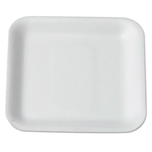 Genpak Supermarket Tray, Foam, White, 5-1/4 x 5-1/4, 125/Bag (GNP 1SWH)