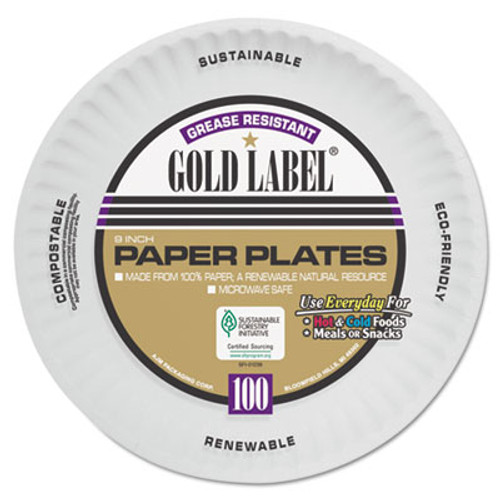 AJM Packaging Corporation Coated Paper Plates, 9 Inches, White, Round, 100/Pack (AJMCP9GOAWH)