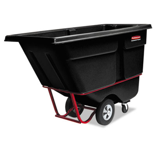 Rubbermaid Rotomolded Tilt Truck, Rectangular, Plastic, 1400-lb Cap., Black (RCP 1306 BLA)