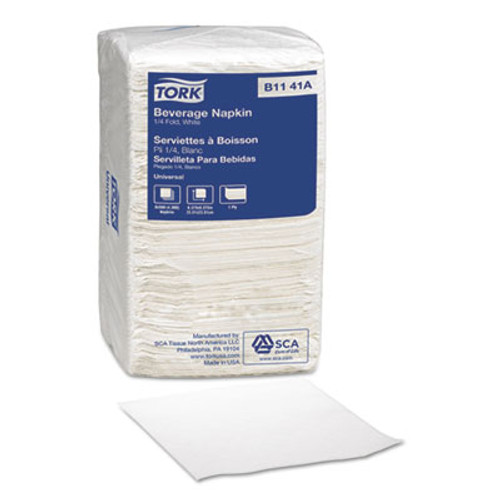Tork Universal Beverage Napkins, 1-Ply,9 3/8x9 3/8, 1/4 Fold,Poly-Pack,White, 4000/Ct (SCA B1141A)