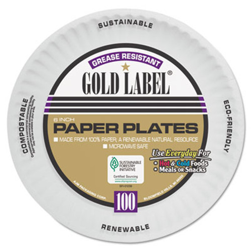 AJM Packaging Corporation Coated Paper Plates, 6 Inches, White, Round, 100/Pack (AJMCP6GOAWH)