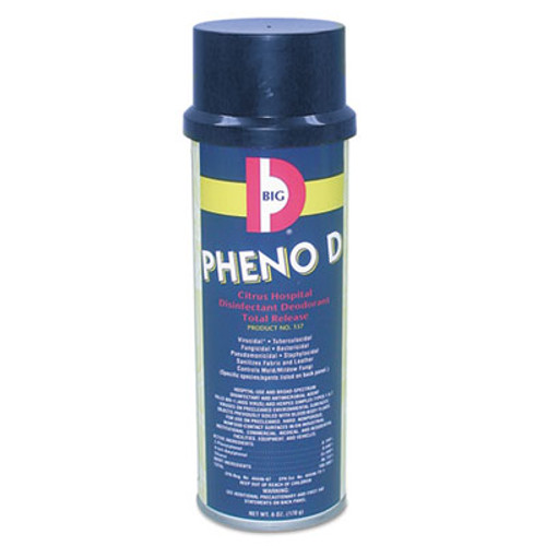 Big D Industries Pheno D Aerosol Antimicrobial Deodorizer, Citrus, 6oz, 12/Carton (BGD 337)