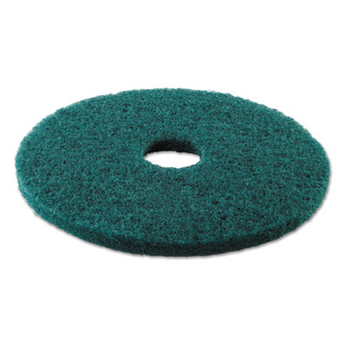 "Boardwalk Standard Heavy-Duty Scrubbing Floor Pads, 17"" Diameter, Green, 5/Carton (PAD 4017 GRE)"