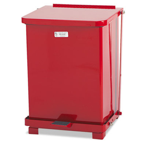 Rubbermaid Defenders Biohazard Step Can, Square, Steel, 7 gal, Red (RCP ST7EPLRED)