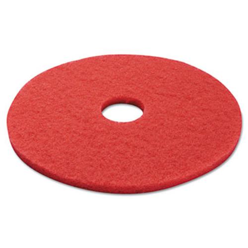 "Boardwalk Standard Buffing Floor Pads, 17"" Diameter, Red, 5/Carton (PAD 4017 RED)"