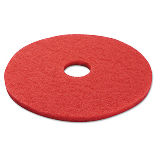"Boardwalk Standard Buffing Floor Pads, 17"" Diameter, Red, 5/Carton (PAD 4017 RED)"