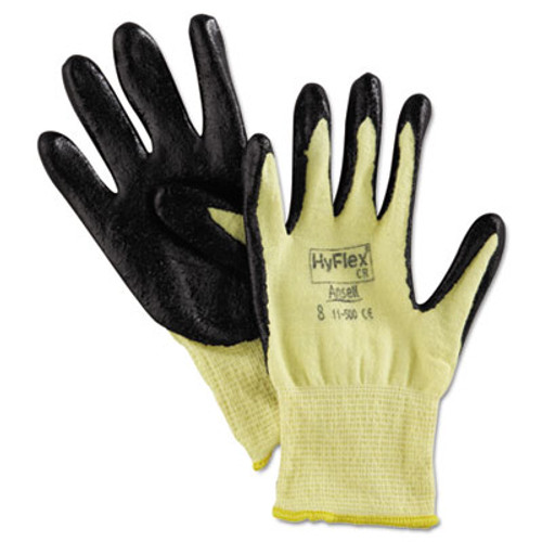 AnsellPro HyFlex 500 Light-Dty Gloves, Size 8, Kevlar/Nitrile, Yellow/Black, 12 Pairs (ANS115008)