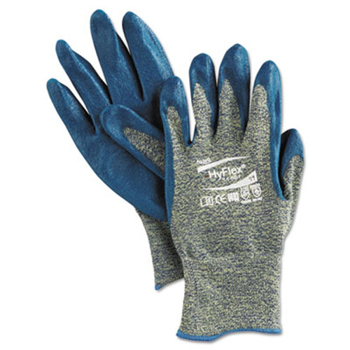 AnsellPro HyFlex 501 Medium-Duty Gloves, Size 11, Kevlar/Nitrile, Blue/Green, 12 Pairs (ANS1150111)
