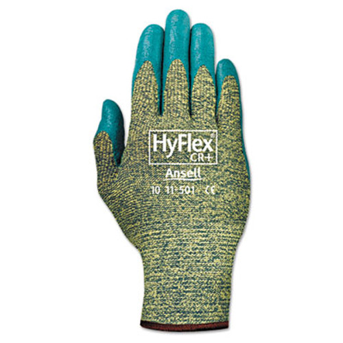 AnsellPro HyFlex 501 Medium-Duty Gloves, Size 8, Kevlar/Nitrile, Blue/Green, 12 Pairs (ANS115018)