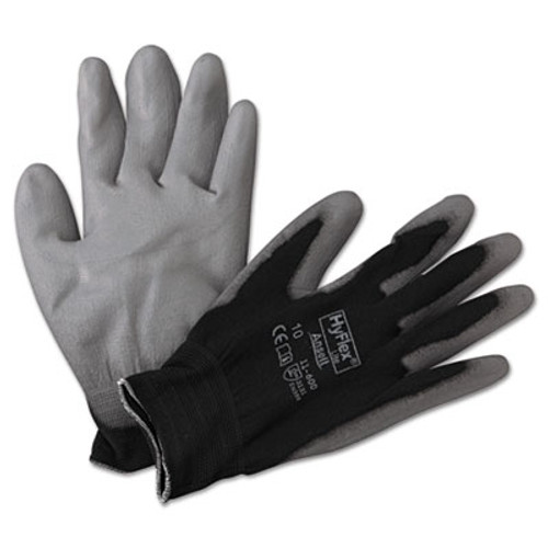 AnsellPro HyFlex Lite Gloves, Black/Gray, Size 10, 12 Pairs (ANS1160010BK)
