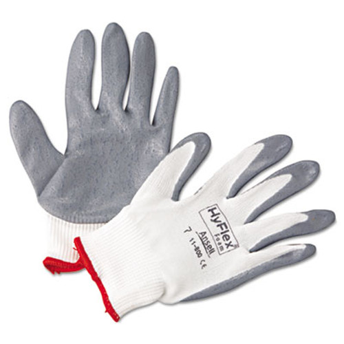 AnsellPro HyFlex Foam Gloves, White/Gray, Size 7, 12 Pairs (ANS118007)