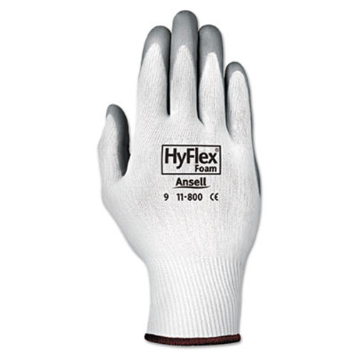 AnsellPro HyFlex Foam Gloves, White/Gray, Size 8, 12 Pairs (ANS118008)