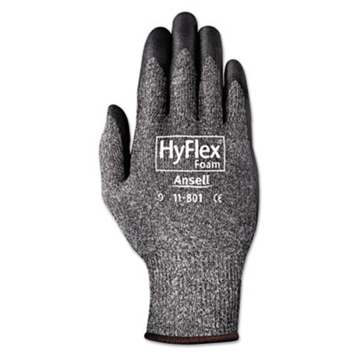 AnsellPro HyFlex Foam Gloves, Dark Gray/Black, Size 10, 12 Pairs (ANS1180110)