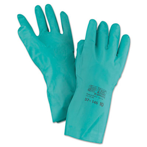 AnsellPro Sol-Vex Sandpatch-Grip Nitrile Gloves, Green, Size 10, 12 Pairs (ANS3714510)