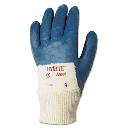 AnsellPro Hylite Palm Coated Multi-Purpose Gloves, Blue/White, Size 9, 12 Pairs (ANS474009)