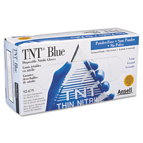 AnsellPro TNT Disposable Nitrile Gloves, Non-powdered, Blue, Large, 100/Box (ANS92675L)