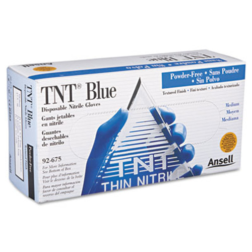 AnsellPro TNT Disposable Nitrile Gloves, Non-powdered, Blue, Medium, 100/Box (ANS92675M)