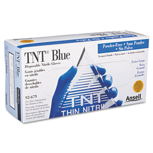 AnsellPro TNT Disposable Nitrile Gloves, Non-powdered, Blue, X-Large, 100/Box (ANS92675XL)