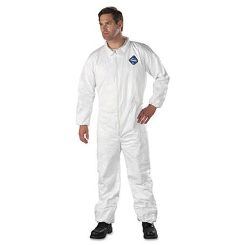 DuPont Tyvek Elastic-Cuff Coveralls, HD Polyethylene, White, 3X-Large, 25/Carton (DUP TY125S3XL)