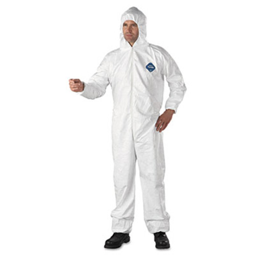 DuPont Tyvek Elastic-Cuff Hooded Coveralls, HD Polyethylene, White, 2X-Large, 25/Carton (DUP TY127S2XL)