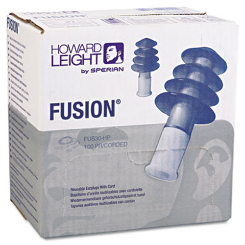 Howard Leight FUS30 HP Fusion Multiple-Use Earplugs, Reg, 27NRR, Corded, BE/WE, 100 Pairs (HOW FUS30HP)