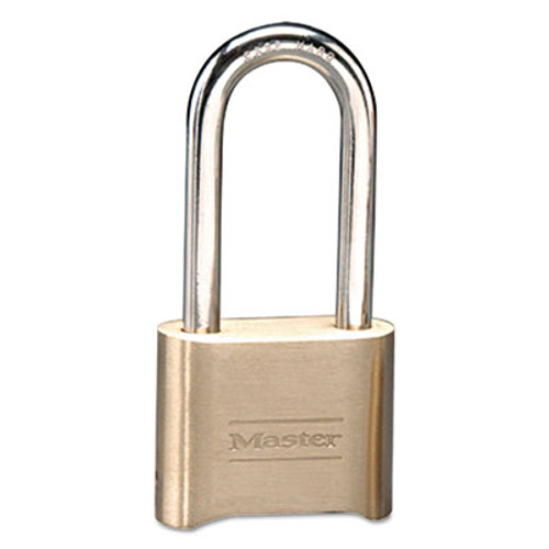 "Master Lock Resettable Combination Padlock, Brass, 2"" Wide, Brass Color, 6/Box (MAS 175DLH)"
