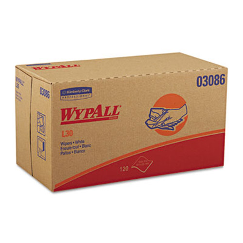 WypAll* L30 Wipers, 10 x 9 4/5, White, 120/POP-UP Box, 10 Boxes/Carton (KCC 03086)