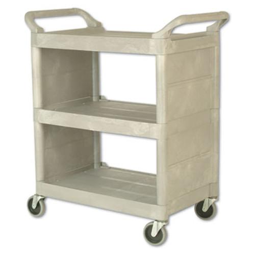 Rubbermaid Utility Cart, 300-lb Cap, Three-Shelf, 32w x 18d x 37-1/2h, Platinum (RCP 3355-88 PLA)
