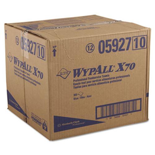 WypAll* X70 Foodservice Towels, 1/4 Fold, 12 1/2 x 23 1/2, Blue, 300/Carton (KCC 05927)