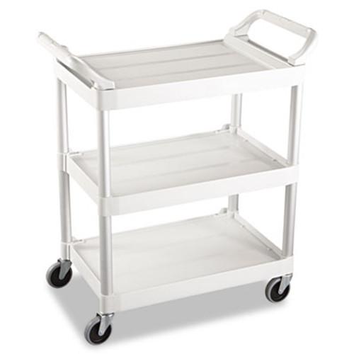 Rubbermaid Service Cart, 200-lb Cap, Three-Shelf, 18-5/8w x 33-5/8d x 37-3/4h, Off-White (RCP 3424-88 OWH)