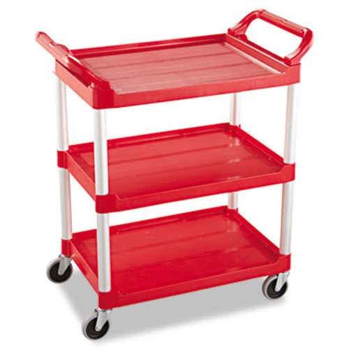 Rubbermaid Service Cart, 200-lb Cap, Three-Shelf, 18-5/8w x 33-5/8d x 37-3/4h, Red (RCP 3424-88 RED)
