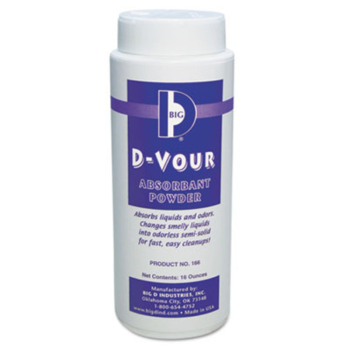 Big D Industries D-Vour Absorbent Powder, Canister, Lemon, 16oz, 6/Carton (BGD 166)